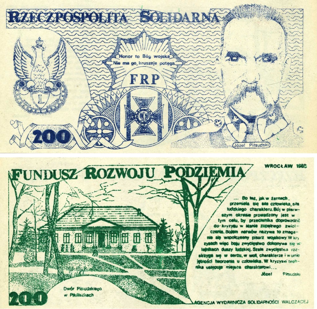 1984_0021b Piłsudski 200zł s.1 i 2 Rzeczpospolita Solidarna